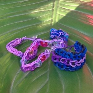 Loom bracelet lot purple beaded kids
